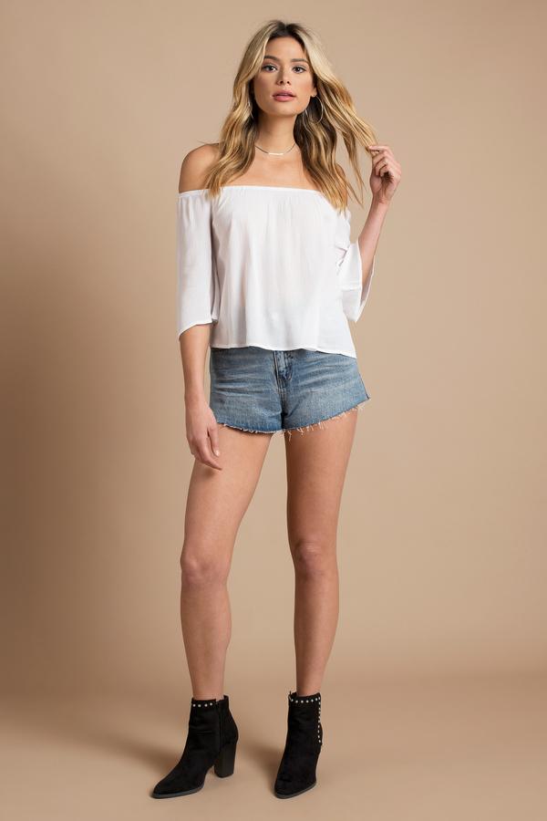 16ace03592cb9 Cute White Blouse - Off Shoulder Blouse - White Blouse - £19
