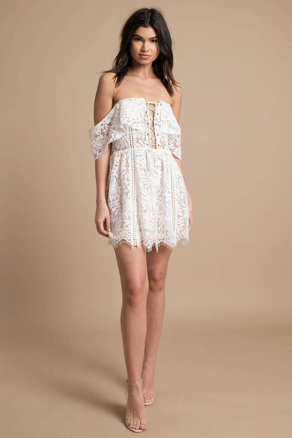 47401438d5 White Skater Dress - Lace Up Dress - White Off Shoulder Dress -  54 ...