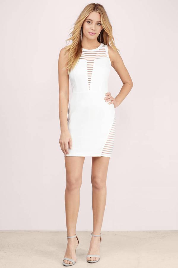 Sexy White Bodycon Dress Mesh Inset Dress Bodycon