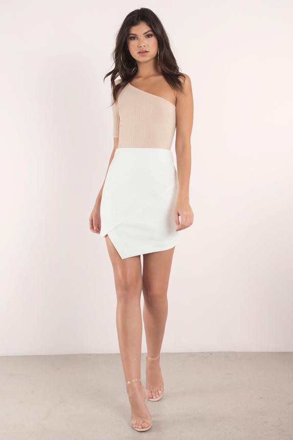 Taupe Skirt - Beige Skirt - Asymmetrical Skirt - Khaki Midi Skirt ...