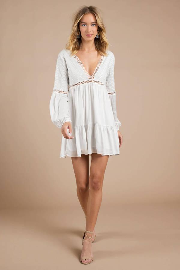 d610e8548 White Shift Dress - Swing Dress - White Balloon Sleeve Dress - Boho ...
