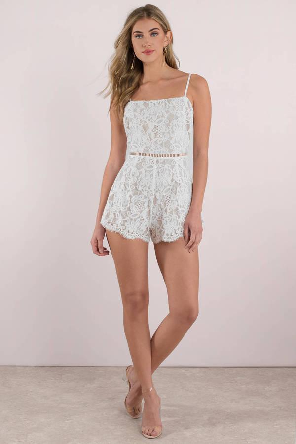 a9f59354374 White Romper - Lace Romper - White Cami Romper - Chic Romper -  35 ...