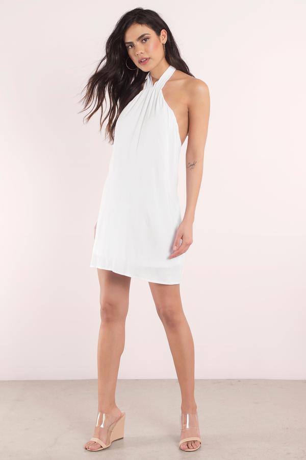 Cute White Dress Bow Back Dress White Swing Dress