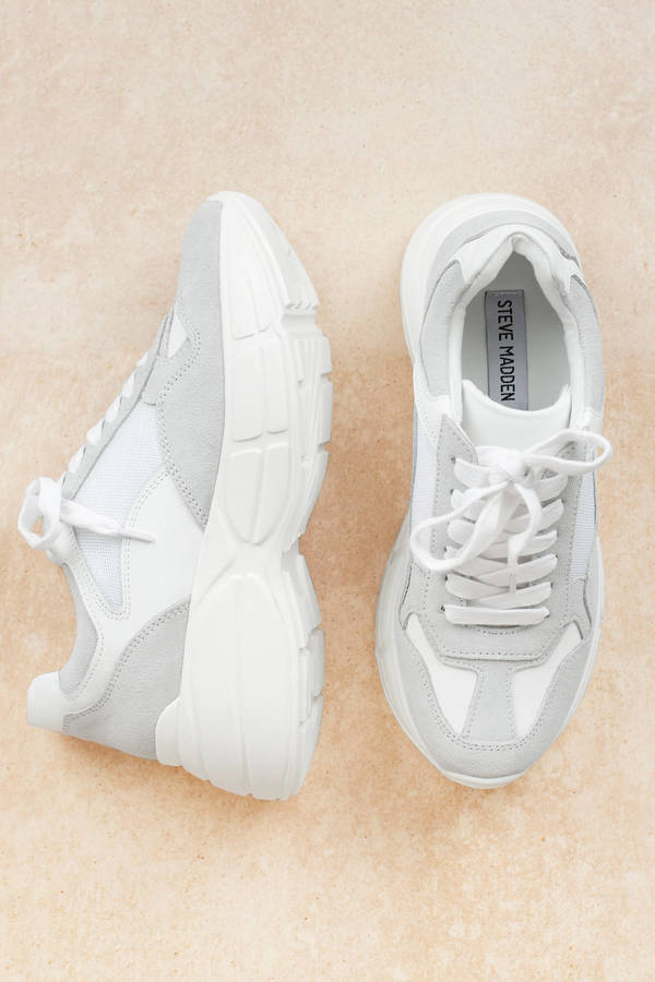 799d58528e4 White Steve Madden Sneakers - Chunky Sole Shoes - White Retro ...