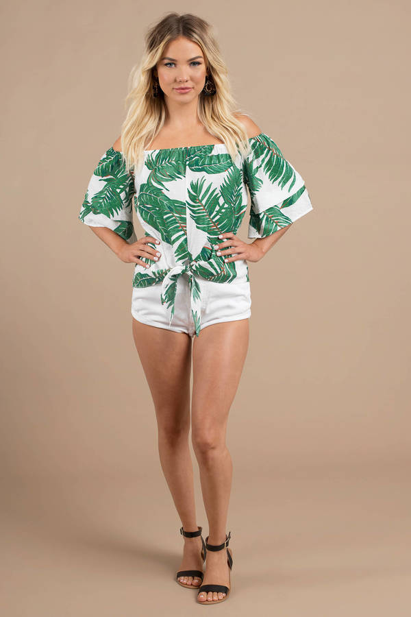 572ab45335198 White Blouse - Tropical Leaf Print Blouse - White Off Shoulder Top ...