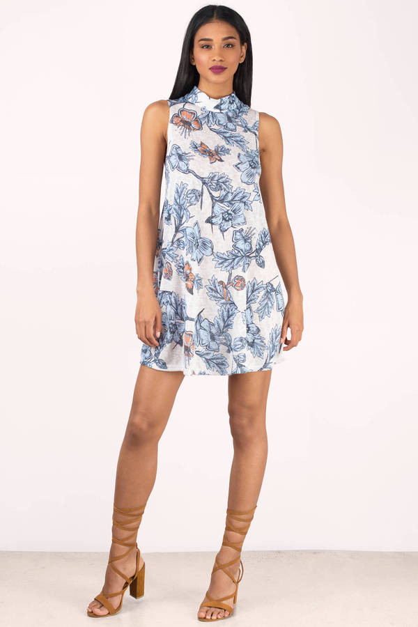 547d9b4339 Cute White Multi Shift Dress - High Neck Dress - Shift Dress - C  28 ...