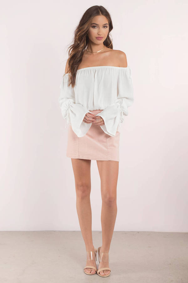 414d211c8868b8 Cute Top - Off Shoulder Top - Bell Sleeve Top - White Blouse - $16 ...