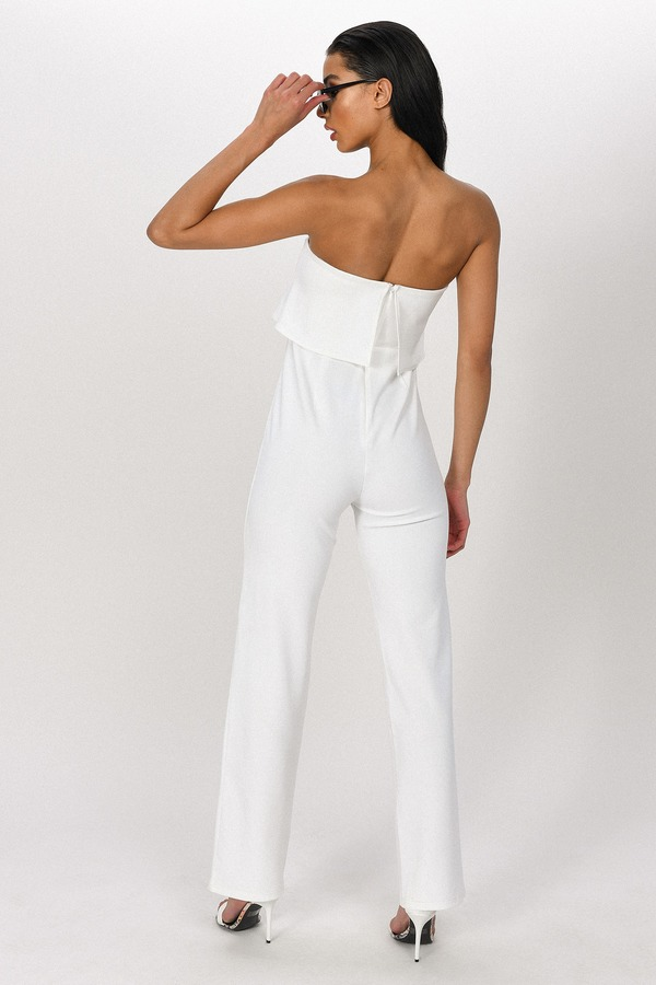 c95e33602d04d1 White Sleeveless Jumpsuit - Plunging V Neck Jumpsuit - White Party ...