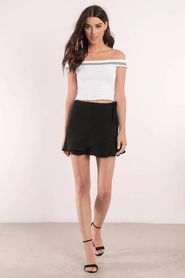 f40f0a5a31984d White Top - White Crop Top - Smocked Off The Shoulder Top -  5