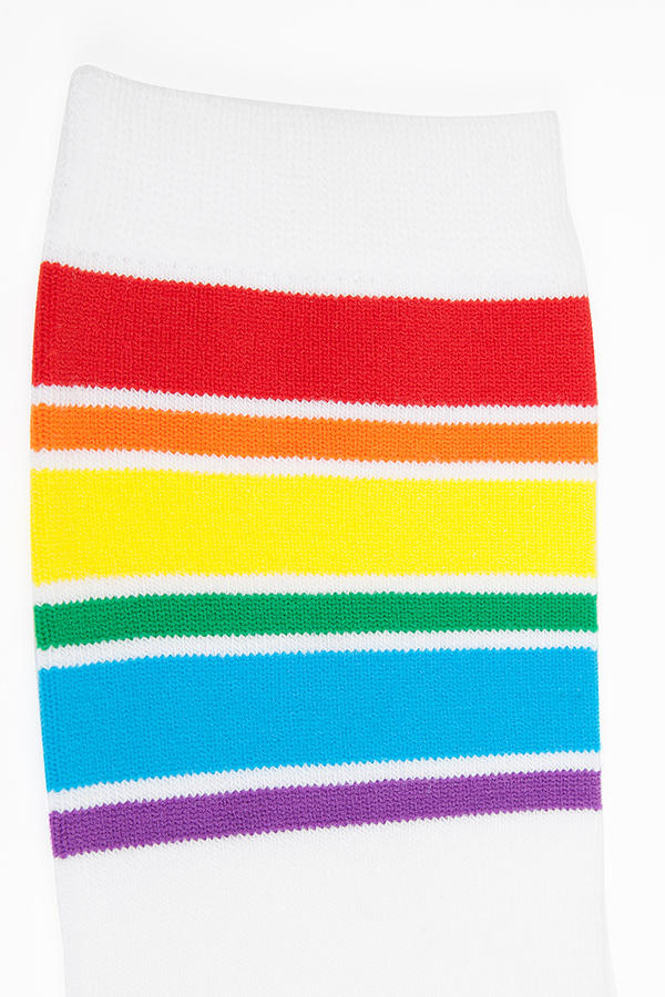 Rainbow Banded Knee Socks