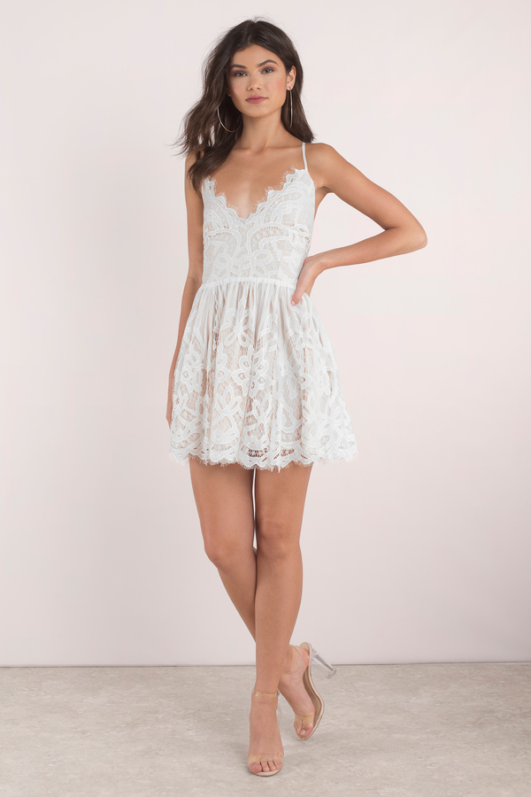 9470d0c4482 White Dress - Strappy Back Dress - Pretty White Dress - Skater Dress ...