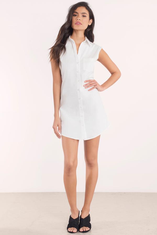 2490bd1b6d3 White Shirt Dress - Sleeveless Dress - Long Dress Shirt - Day Dress ...