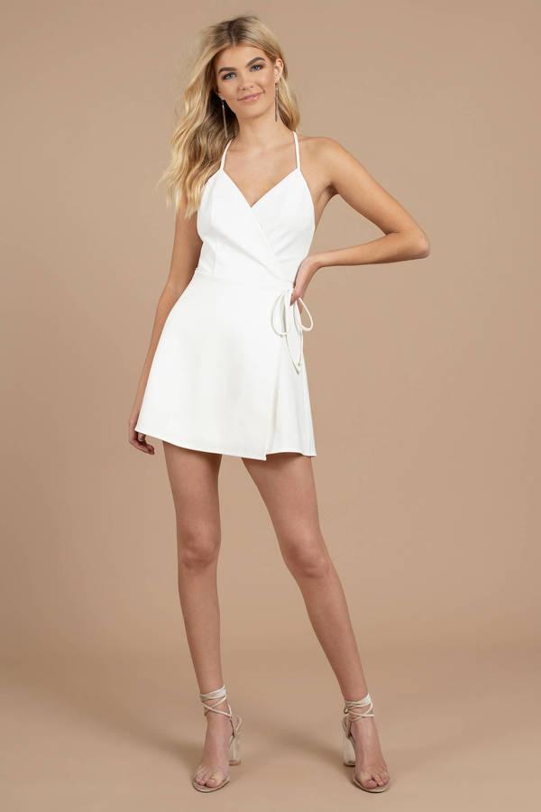 db89d23ff7 Yasmine White Wrap Skater Dress -  88