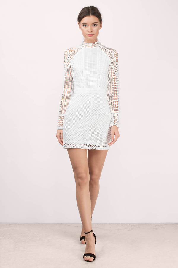 White Bodycon Dress Netted Lace Dress White Long