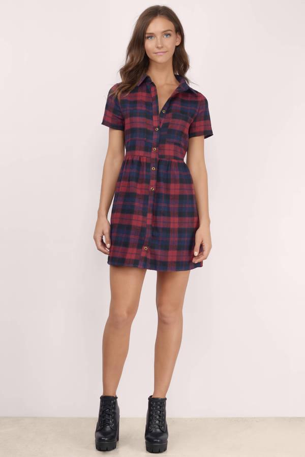 Wine Skater Dress - Button Up Dress - Plaid Dress ...