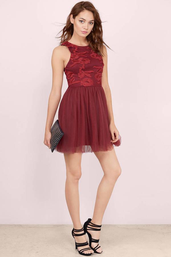 afeec266823ed Cute Wine Skater Dress - Mesh Dress - Wine Tulle Skirt Dress - C$ 18 ...