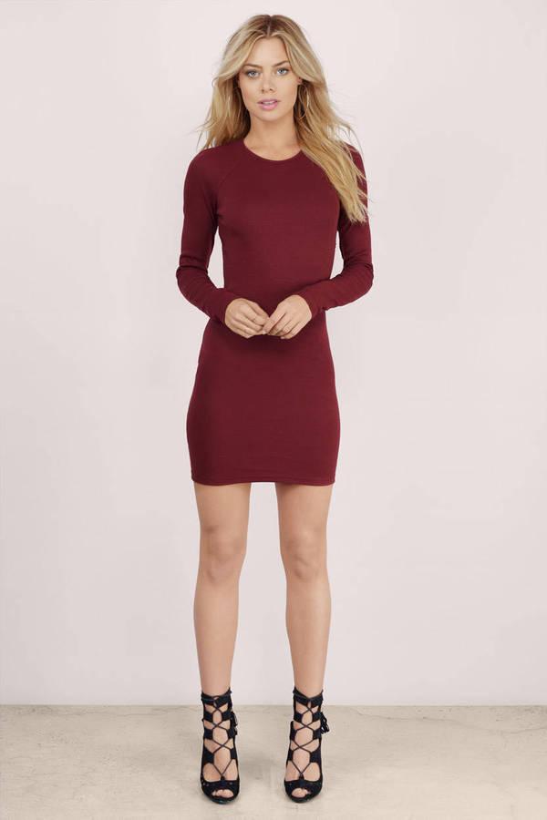 Wine Bodycon Dress - Red Dress - Long Sleeve Dress - $48.00