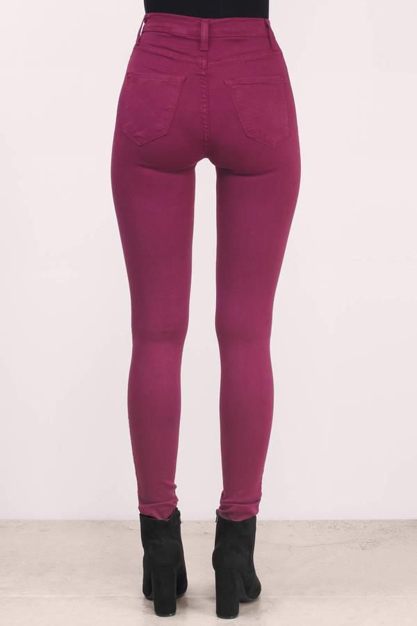 Wine Denim Jeans - Red Jeans - Skinny Jeans - $31.00