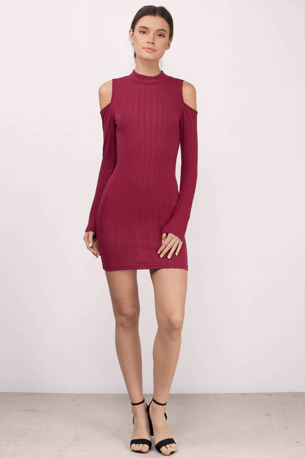 5ee6bc646cd6 Wine Bodycon Dress - Red Dress - Long Sleeve Dress - Wine Bodycon ...