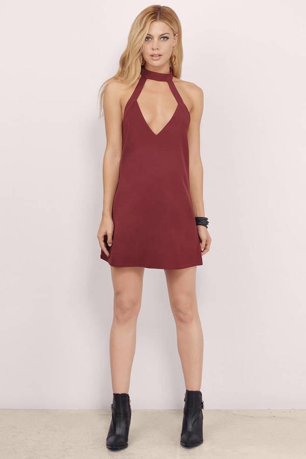 Sexy Wine Shift Dress - Red Dress - V Neck Dress - $60.00