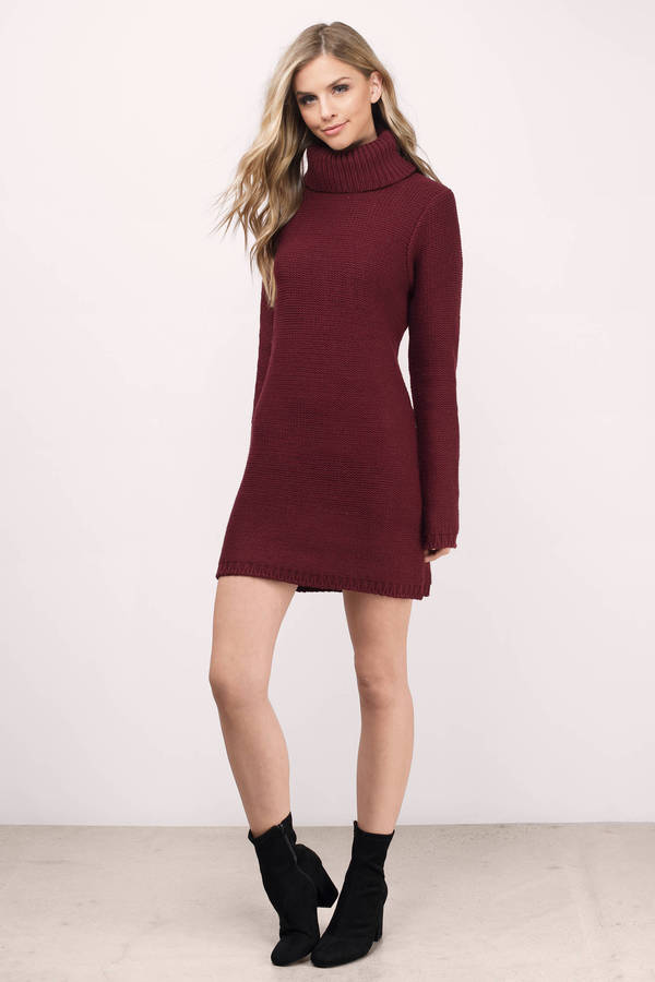 Cute Wine Dress - Turtleneck Dress - Army Red Sweater - Day Dress ...