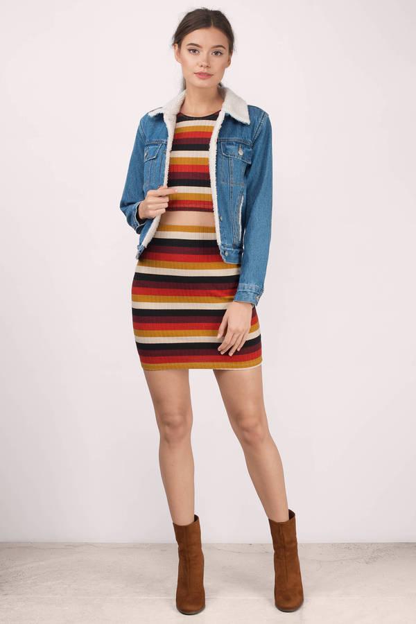 Wine Multi Skirt - Red Skirt - High Waisted Skirt - $11.00