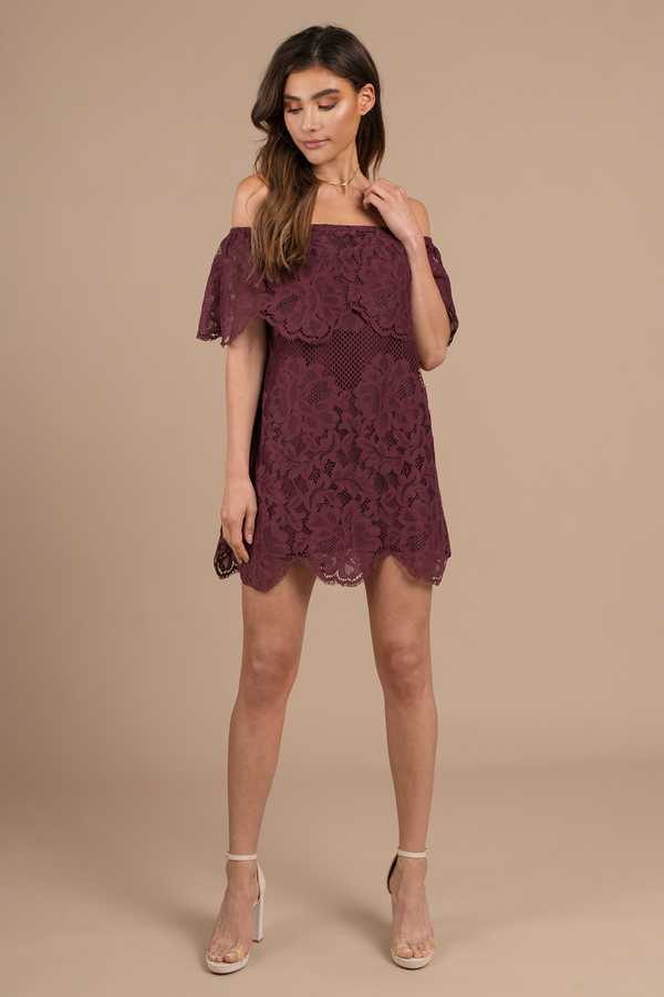 7f9d3429c3bf Black Dress - Lace Fold Over Dress - Black Off The Shoulder Dress ...