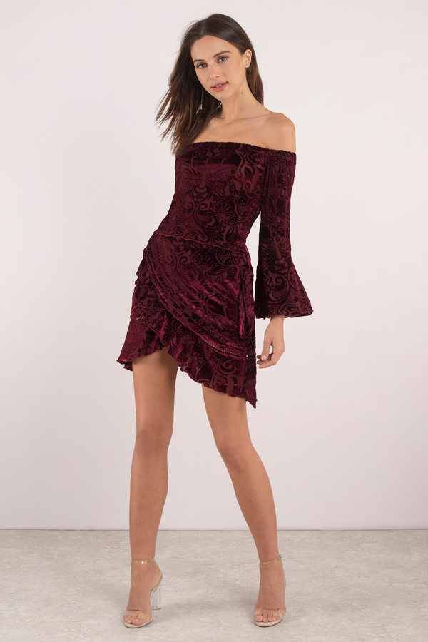 914c71b8435b Chic Wine Wrap Dress - Winona Off Shoulder Dress - Velvet Wrap Dress ...