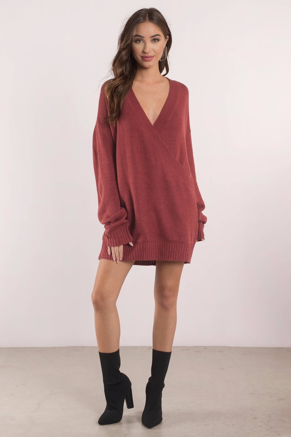 Cute Wine Dress - Deep V - Wine Oversized Sweater - $30 | Tobi US