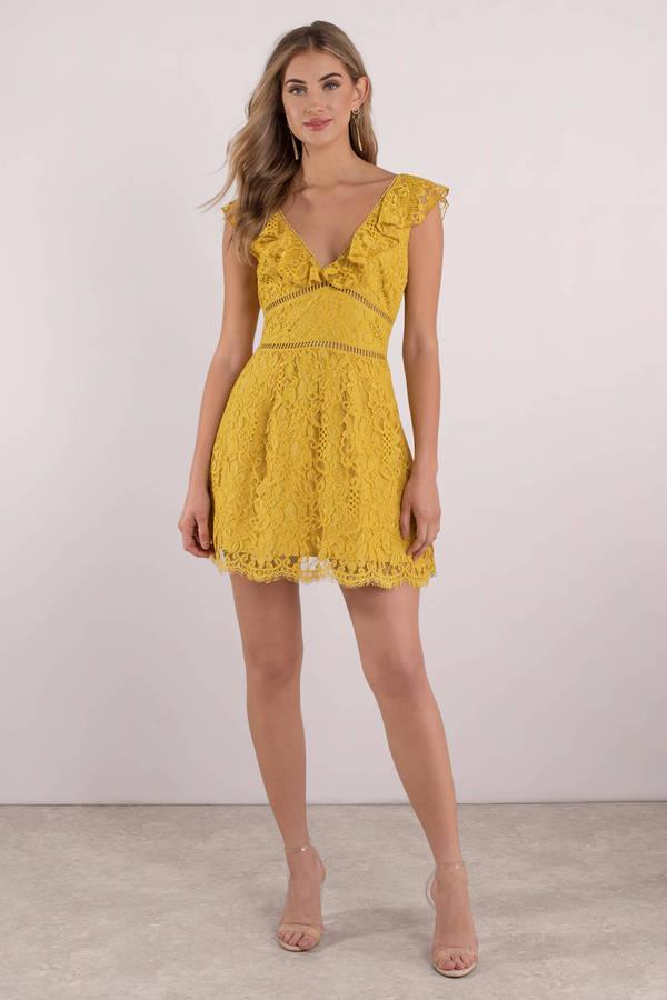 e86c1c4f84e Yellow Skater Dress - Ruffle Sleeve Dress - Yellow Golden Dress ...