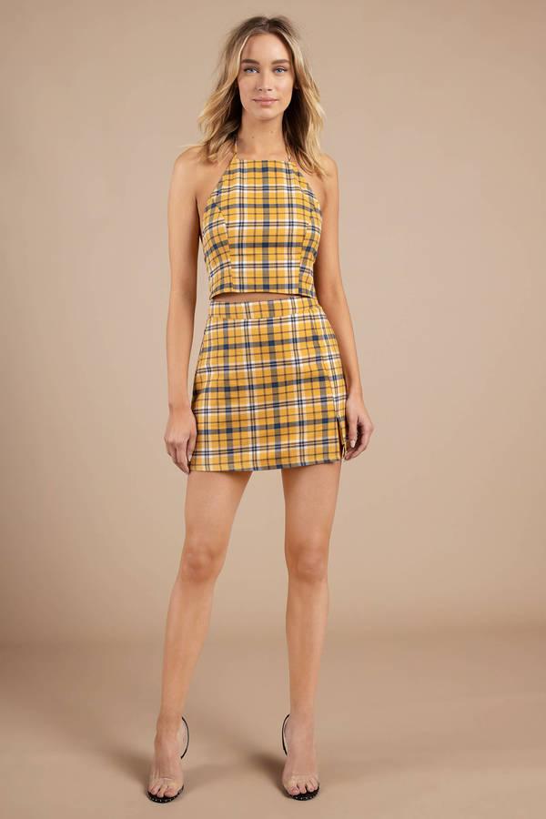 Yellow Skirt Plaid Skirt Mustard Yellow High Waist