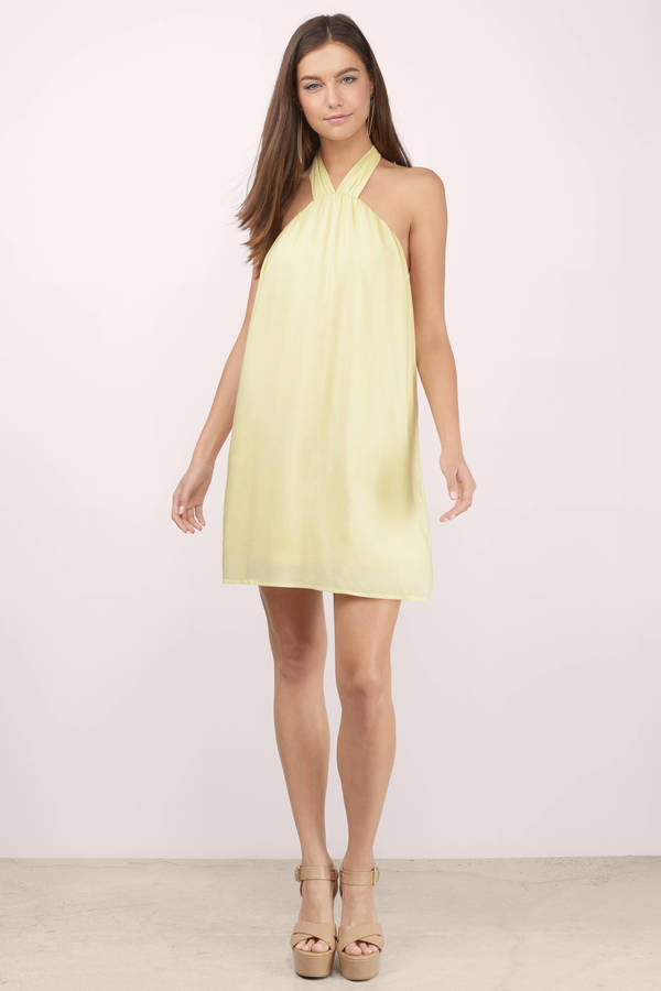 Trendy Yellow Shift Dress - Yellow Dress - Halter Dress - $12.00