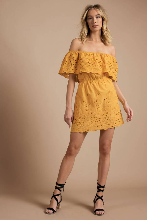 061a1995f2a7 Trendy Yellow Summer Dress - Off Shoulder Mini Dress - Yellow Eyelet ...
