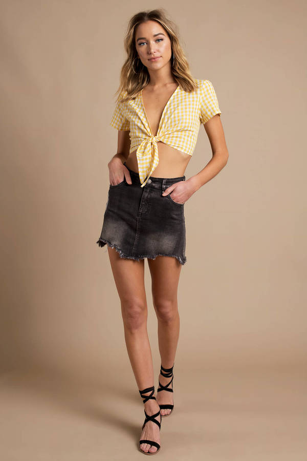 360c8e89436 Reverse Crop Top - Yellow Gingham Crop Top - Front Tie Crop Top - NZ ...