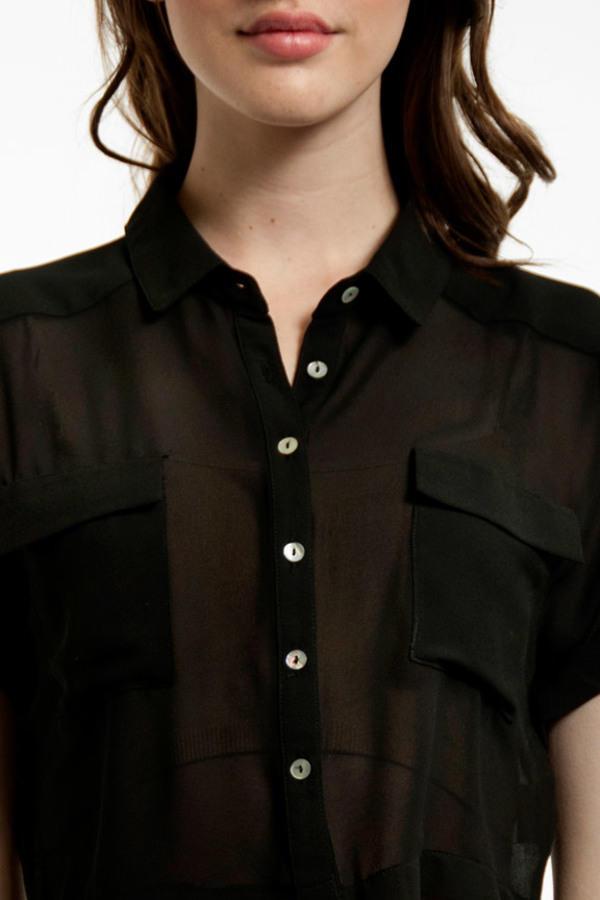 Cut Short Button Down Shirt