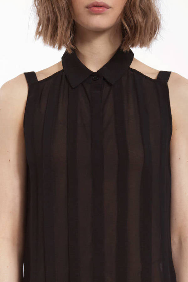 Drop That Pleat Front Button Blouse