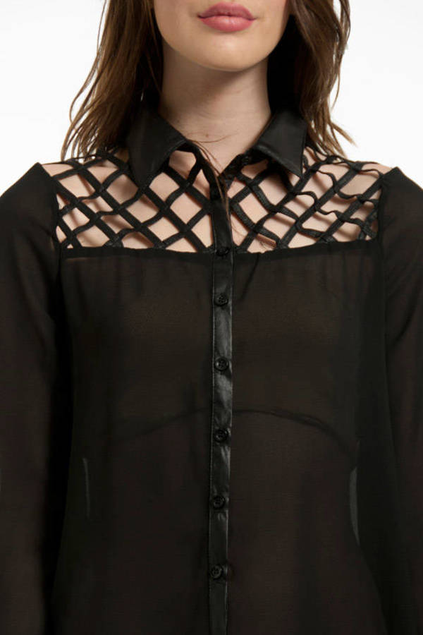 Fenced In Button Up Blouse