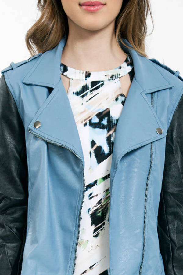 Contrast Sleeve Leather Jacket