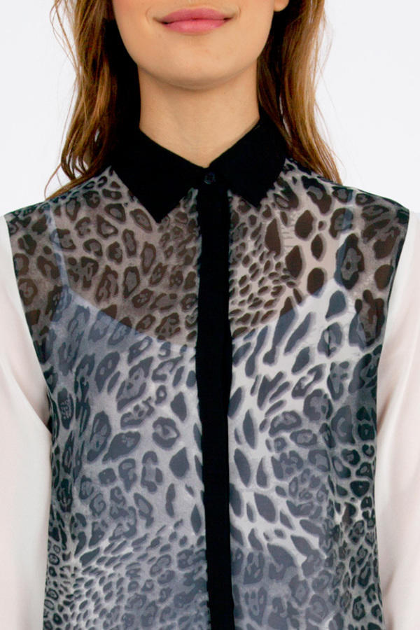 Cat Contrast Blouse