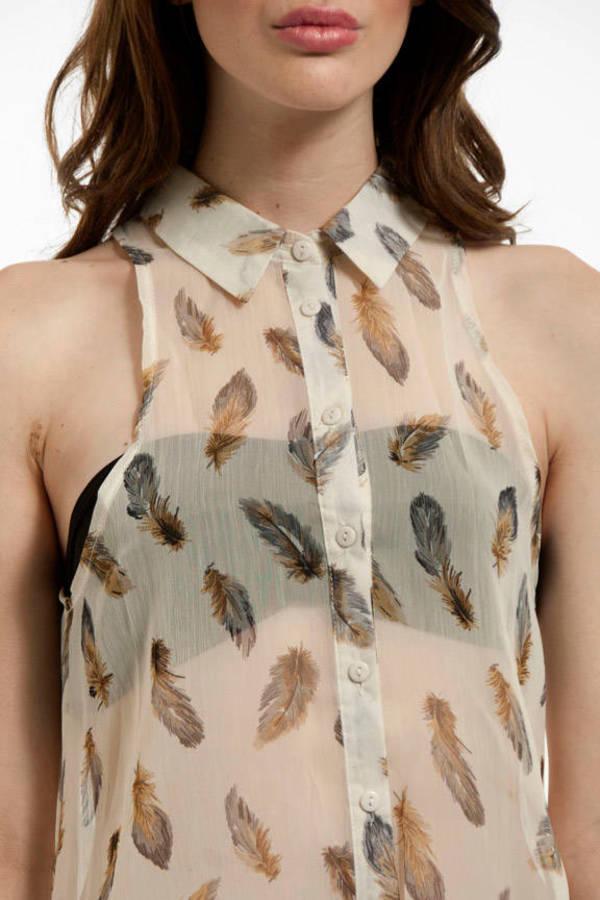 Feathery Sleeveless Button Down Shirt