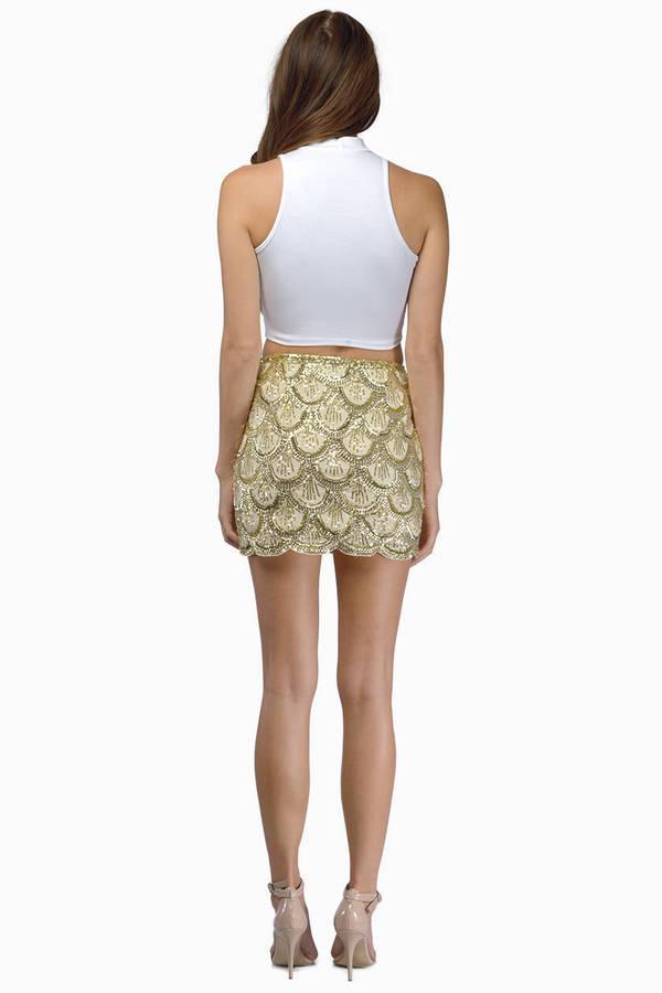 Cute Gold Skirt - Sequined Skirt - Sparkly Skirt - Gold Skirt - $17.00