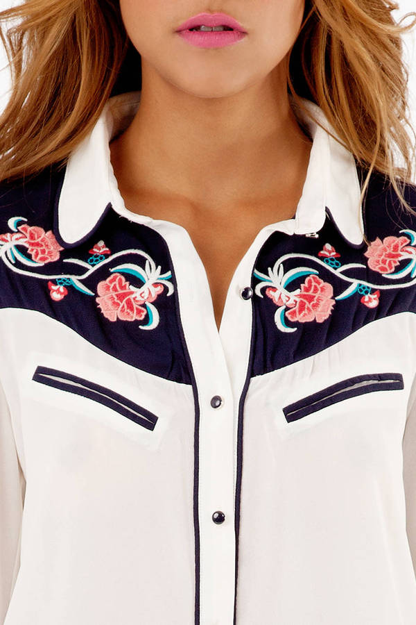 Western Rose Button Up Blouse