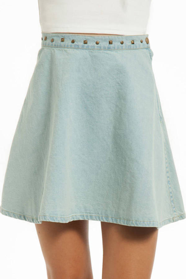 Kelly Spiked Chambray Skirt