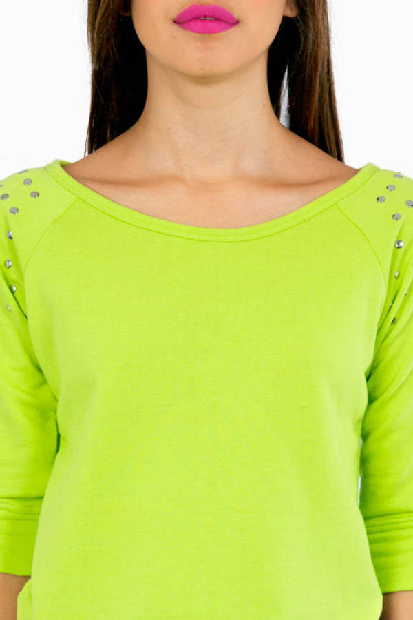Color My World Cropped Studded Sweat Shirt