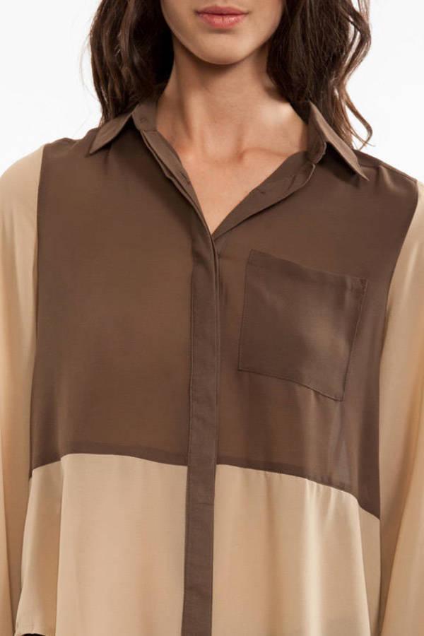 Colorblock Button Up Blouse