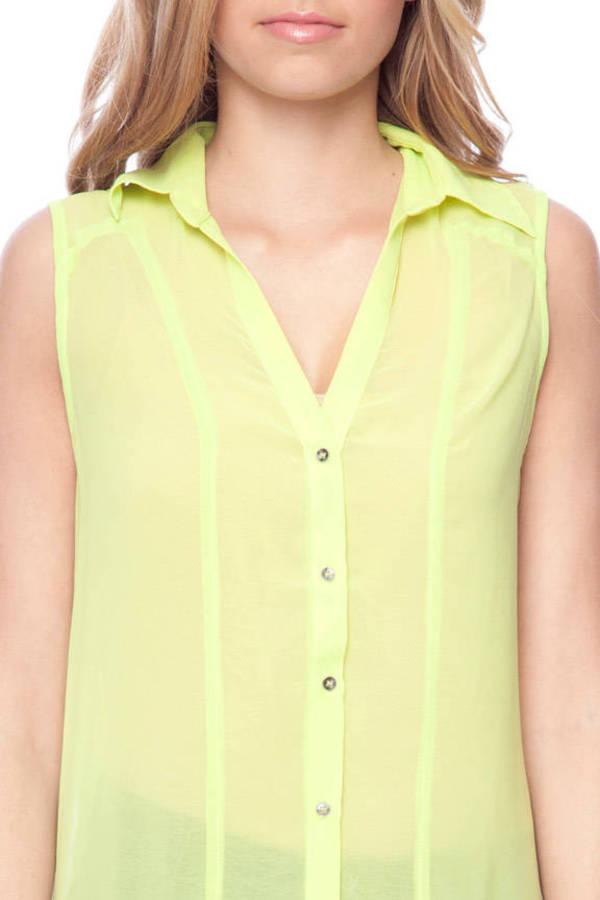 Lush Hi-Low Neon Sleeveless Button Down Shirt