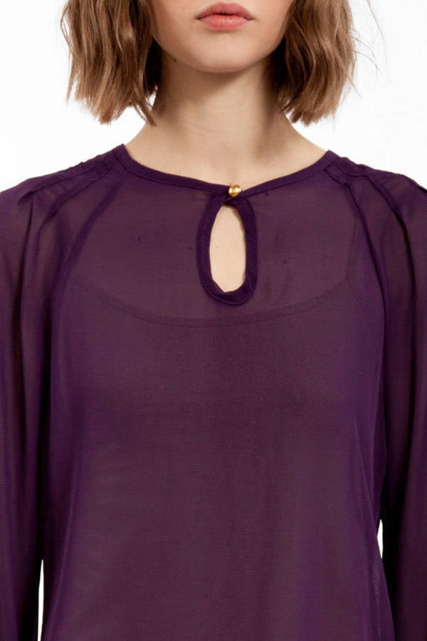 Sheer Keyhole Shift Top