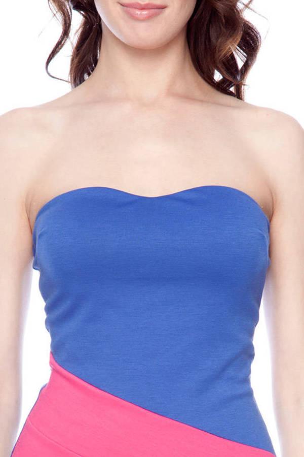 Tilted Color Block Strapless Dress