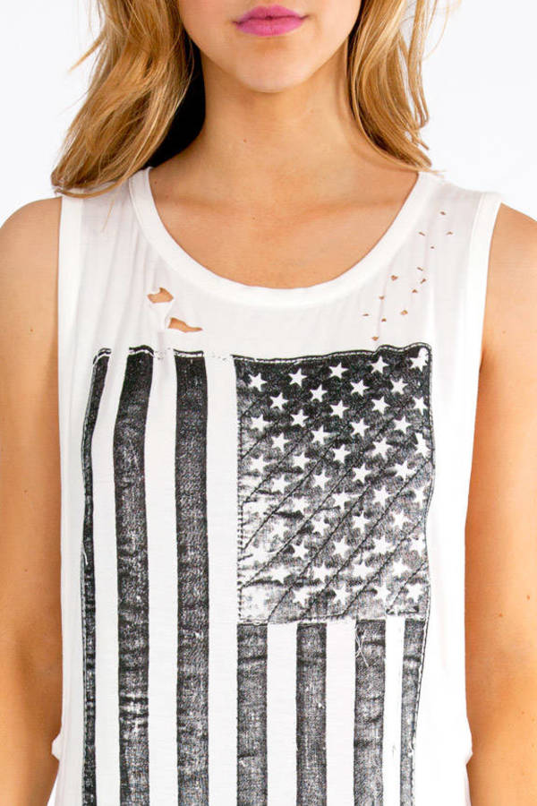 American Flag Long Tank Top