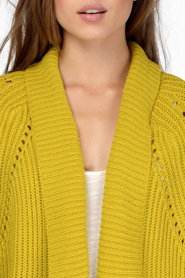 Cute Yellow Cardigan - Draped Cardigan - Yellow Cardigan - $17 ...